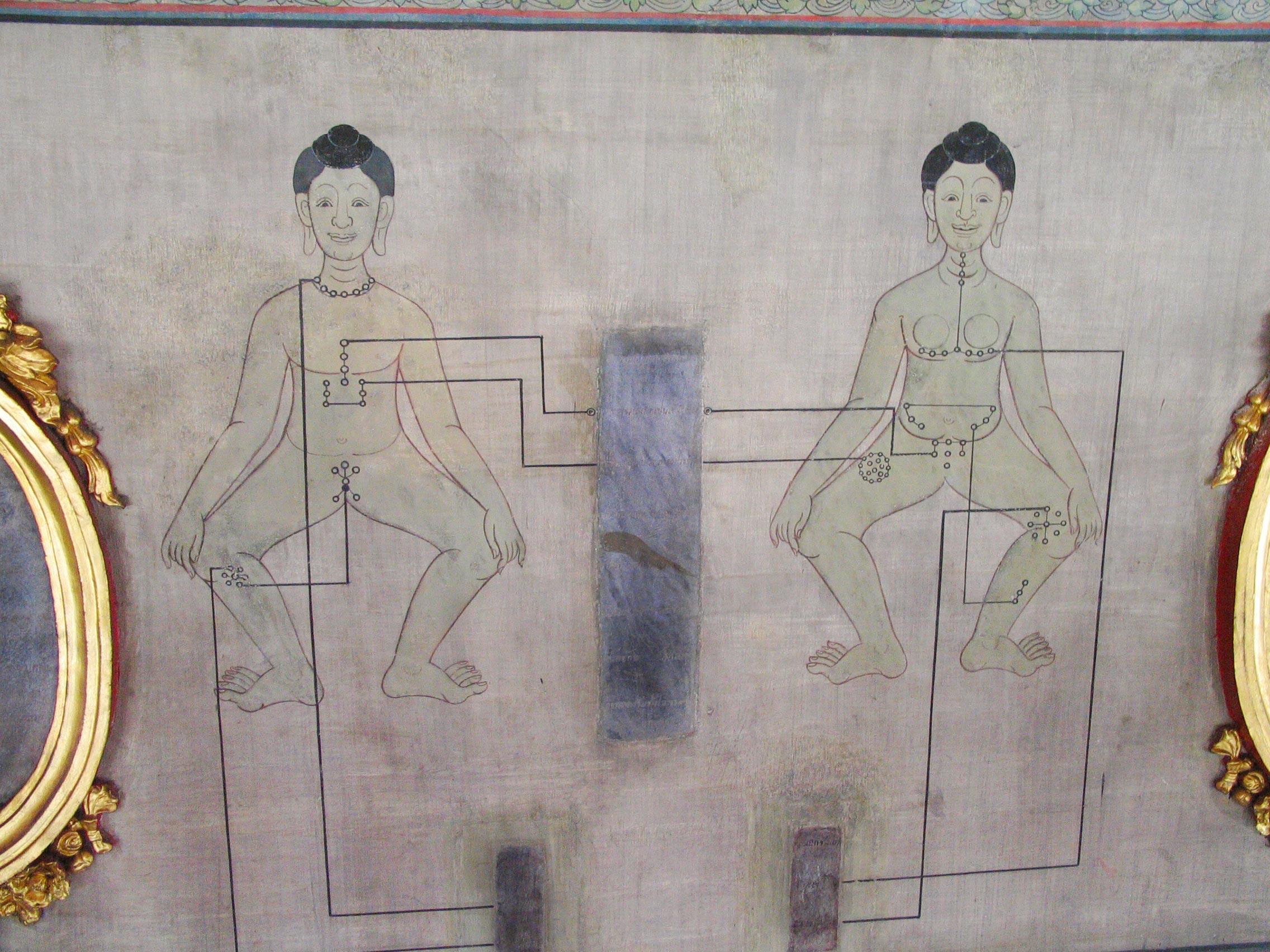 """Muurtekeningen in het """"Medisch Paviljoen"""" van Wat Pho, Bangkok, Thailand."""